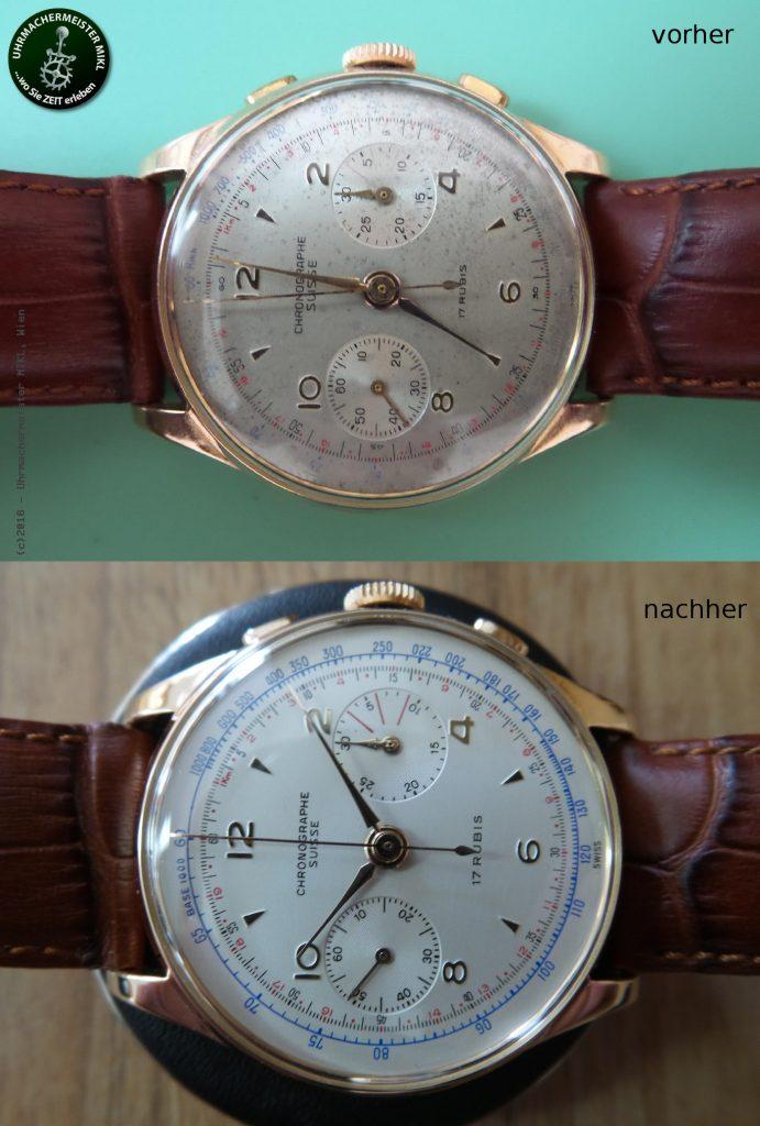 Die fertig restaurierte Uhr - vorher <-> nachher